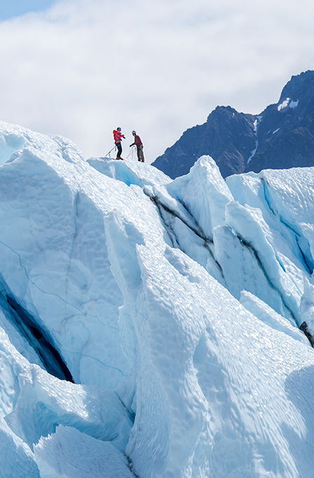 Naturopathic inspiration in Juneau, Alaska hikers on glacier